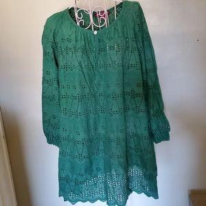 Eyelet green blouse